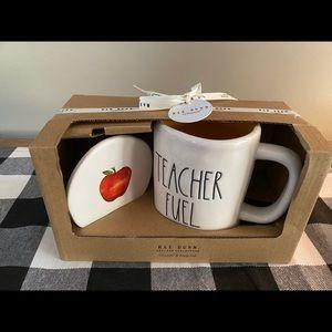 Rae Dunn Teacher Fuel mug with coaster gift set